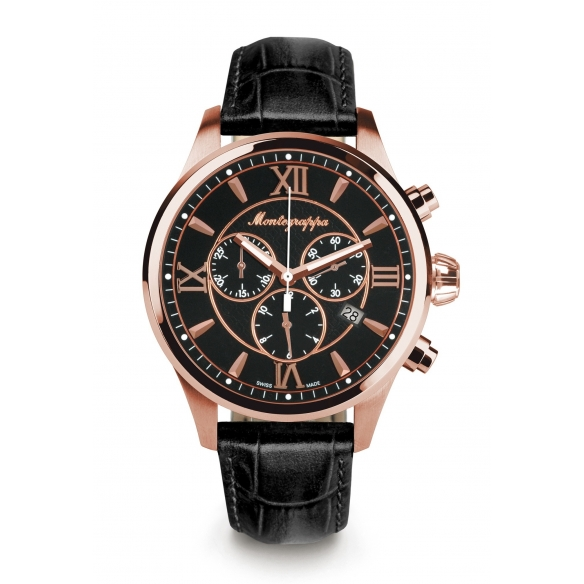 Fortuna Chronograph 42 mm Watch Rose Gold Black MONTEGRAPPA - 1