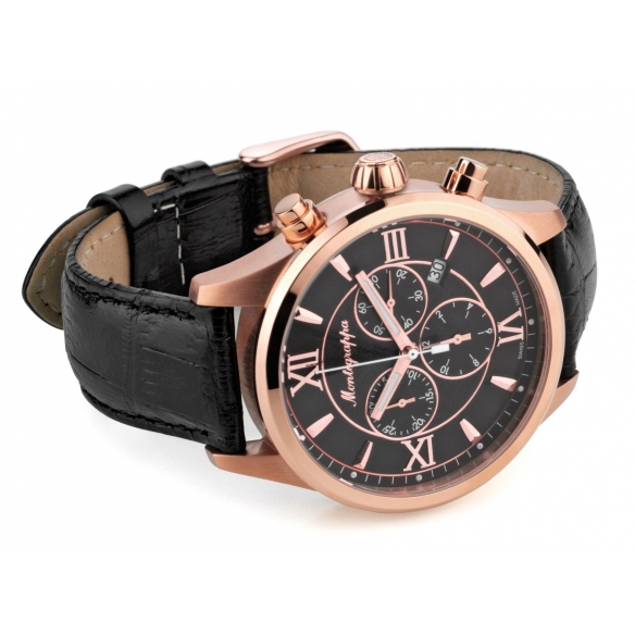 Fortuna Chronograph 42 mm Watch Rose Gold Black MONTEGRAPPA - 2