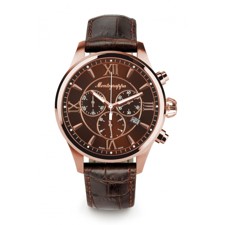 Fortuna Chronograph 42 mm Watch Rose Gold brown MONTEGRAPPA - 1