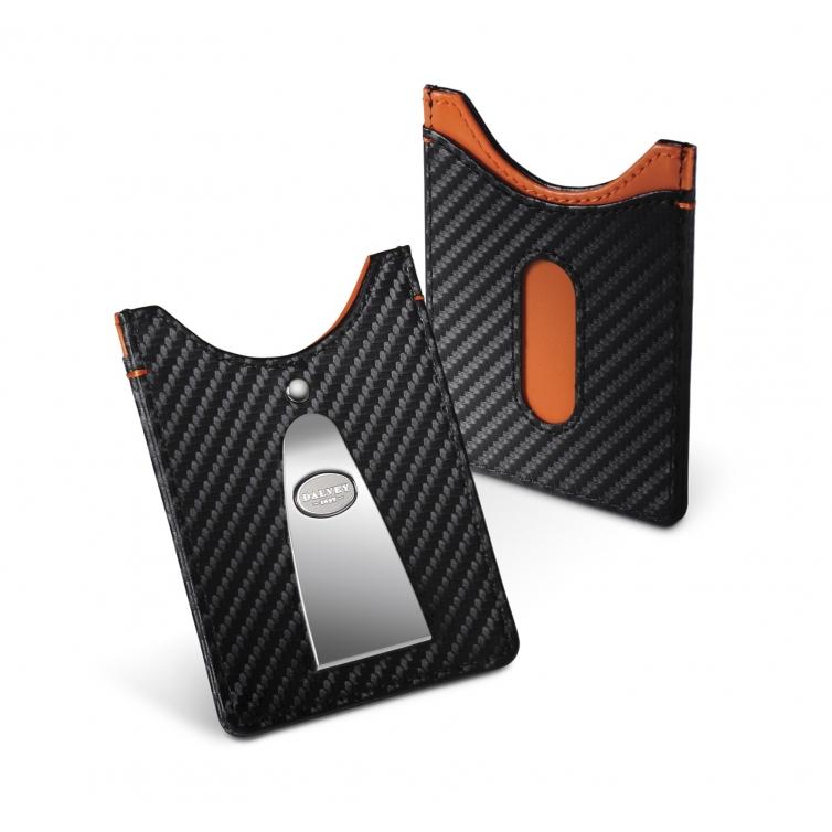 Acess Credit card case and money clip Carbon Fibre with Orange DALVEY - 1