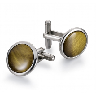 Discus Cuff links tiger's eye