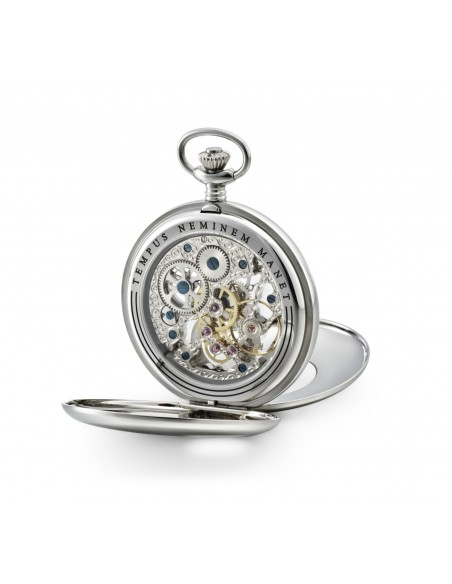 Skeleton pocket watch and stand Stainless steel
