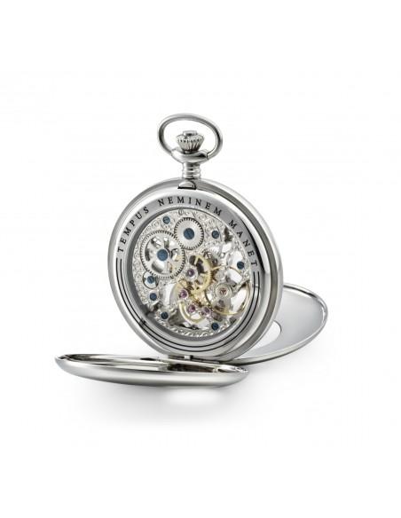 Skeleton vreckové hodinky so stojanom z nehrdzavejúcej ocele
