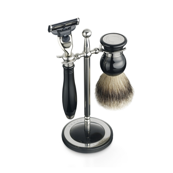 Classic shaving set & stand black