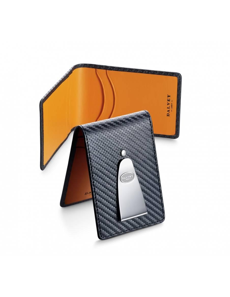 Insignia wallet Black Carbon Fibre with Orange DALVEY - 2