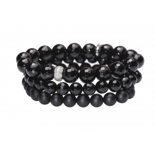 Three-row pearl bracelet black