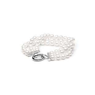 Three-row pearl bracelet white