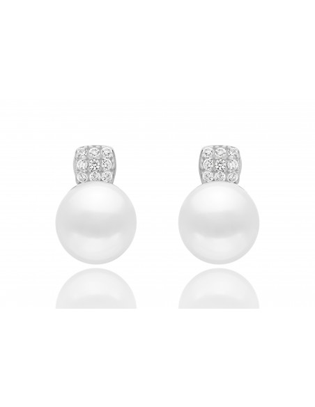Pearl earrings whit zircon white