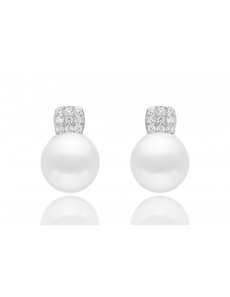 Perlové náušnice so zirkónom biele