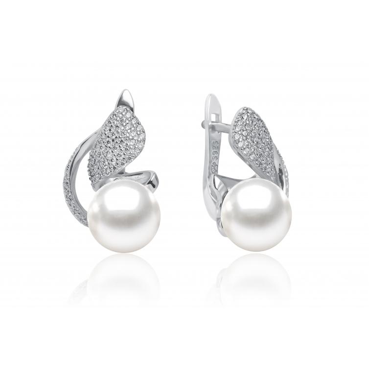 Pearl earrings with zircon silver GAURA - 1