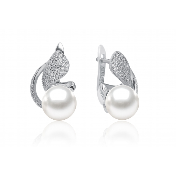 Pearl earrings with zircon silver