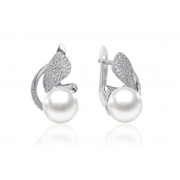Perlové náušnice se zirkonem stříbrné