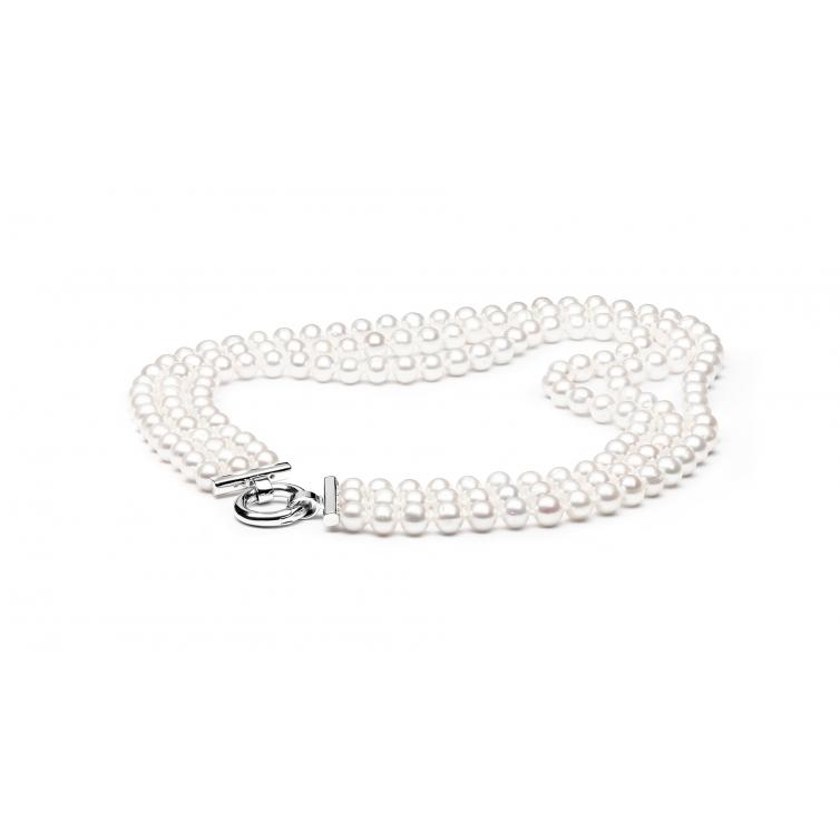 Three-row pearl necklace white GAURA - 1