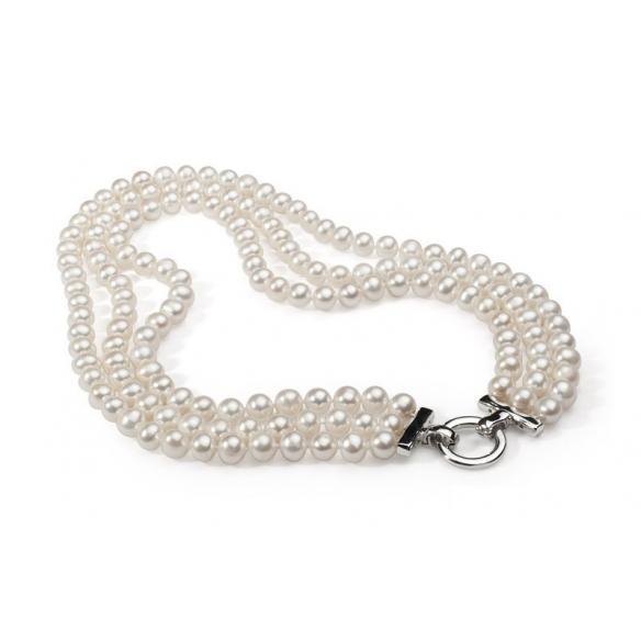 Perlový trojradový náhrdeľník biely GAURA - 2
