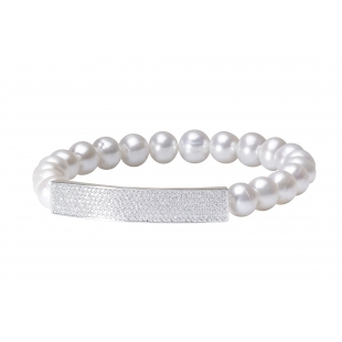 Pearl bracelet with zircon...
