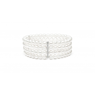 Four-row pearl bracelet white