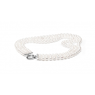 Three-row pearl necklace white