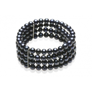 Four-row pearl bracelet black