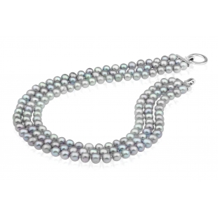 Three-row pearl necklace gray