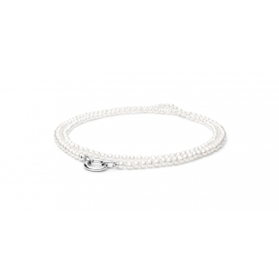 Two-row pearl necklace white