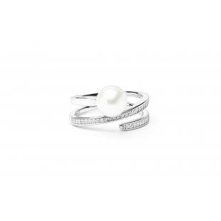 Prsteň s perlou a zirkónom...
