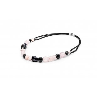 Pearl necklace with onyx GAURA - 1