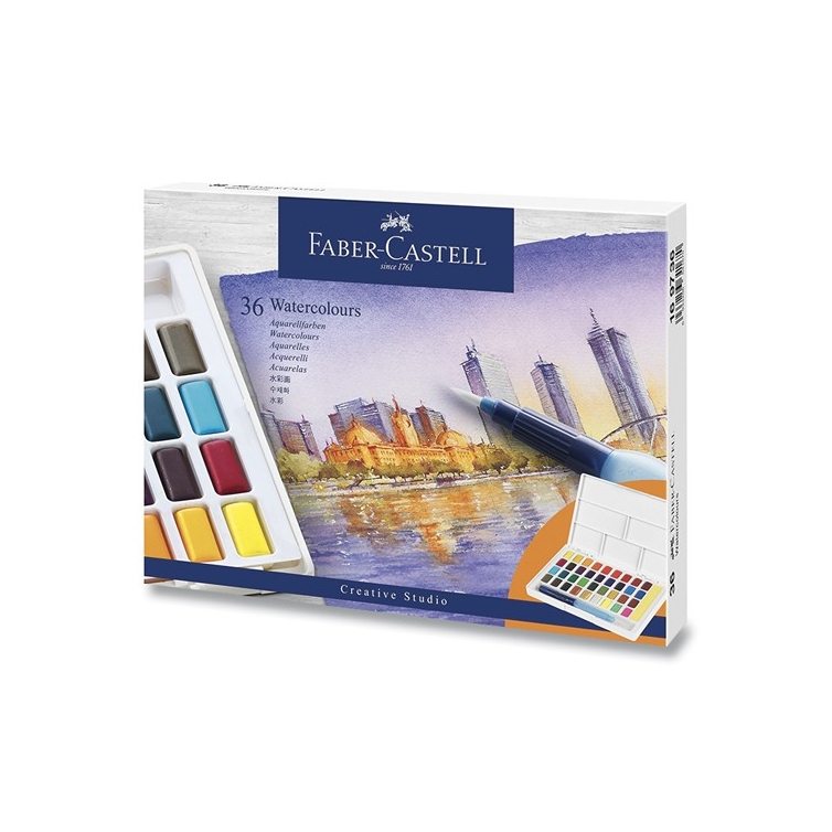 Watercolours with 36 colours