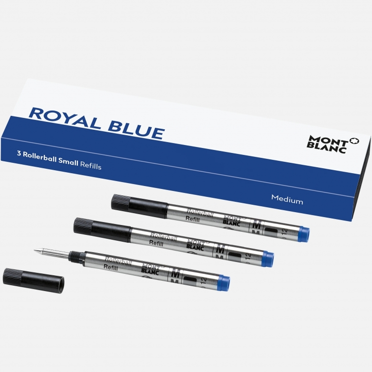 3 Rollerball Small Refills Royal Blue