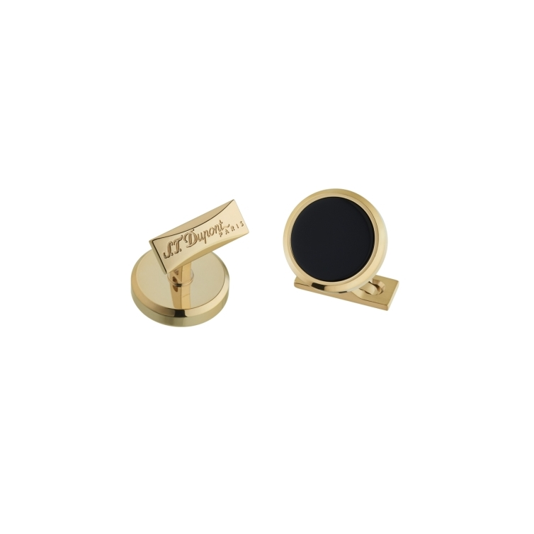 Round Lacquer Cufflinks black and gold S.T. DUPONT - 1