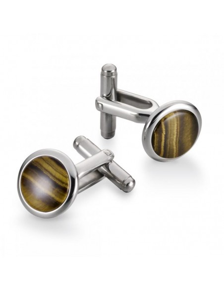 Button Cufflinks Tigers Eye